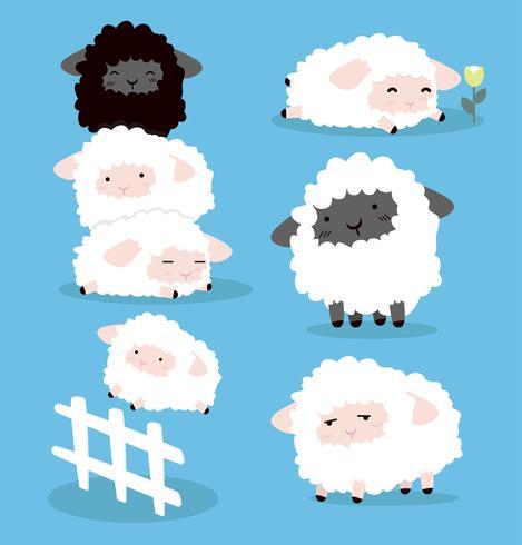 Cute Cartoon sheeps tekens instellen