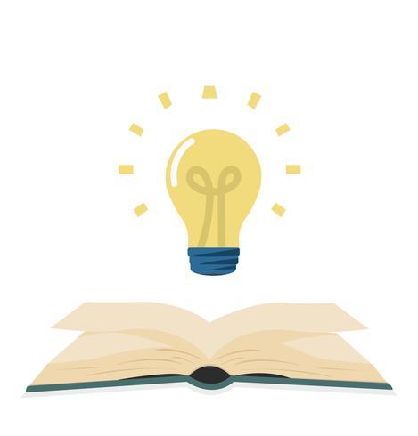 öppen grön bok med lightbulb platt design