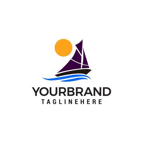 Zeilen schip zon logo ontwerp concept sjabloon vector