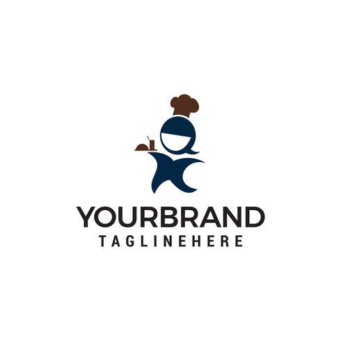 chef women logo design concept template vector