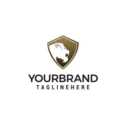 Tiger shield logo design concept template vector