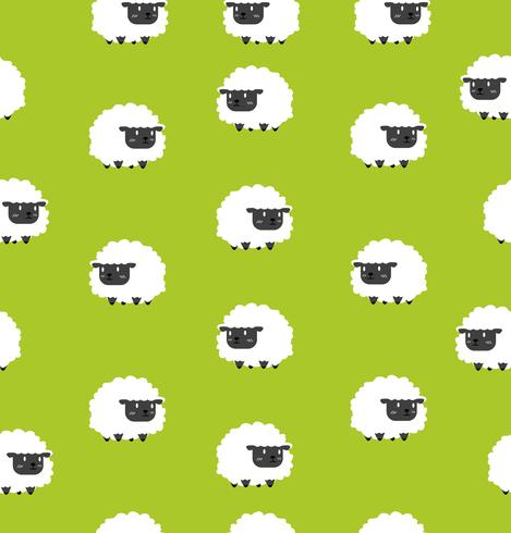 Lindo pequeño patrón de ovejas negro sin costura