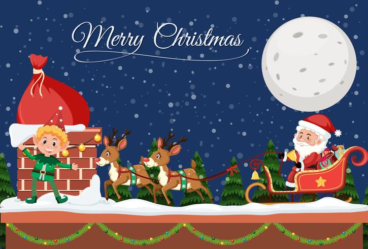Merry christmas template at night vector
