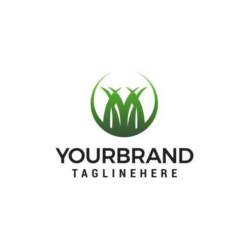 grass logo design concept template vector