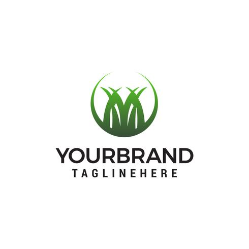 Gras Logo Design Konzept Vorlage Vektor