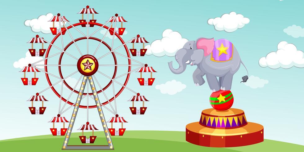 Show de elefantes y noria en el funpark vector