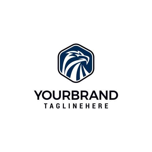 Plantilla de vector de diseño hexagonal Eagle Head Logo