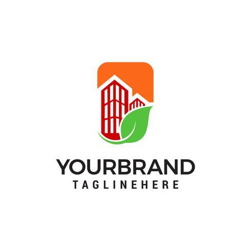 Modello di progettazione del logo di costruzione del foglio del bene immobile