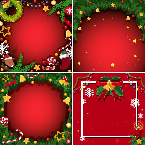 Cuatro fondo con tema de navidad vector