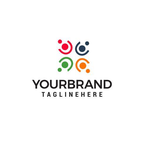 people community logo design concept template vector
