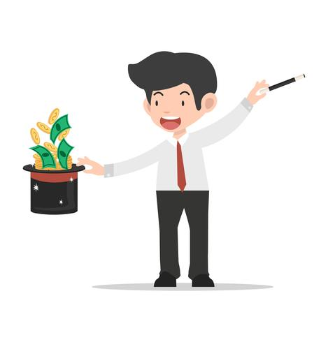Businessman magician Holding Hat With coin vector