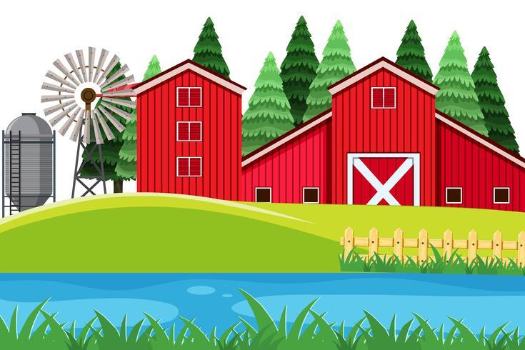 Un paisaje de granja rural. vector