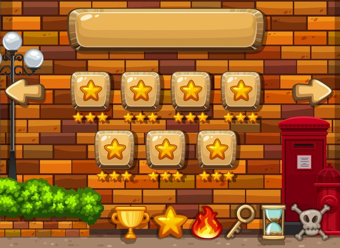 Game background template with stars on buttons