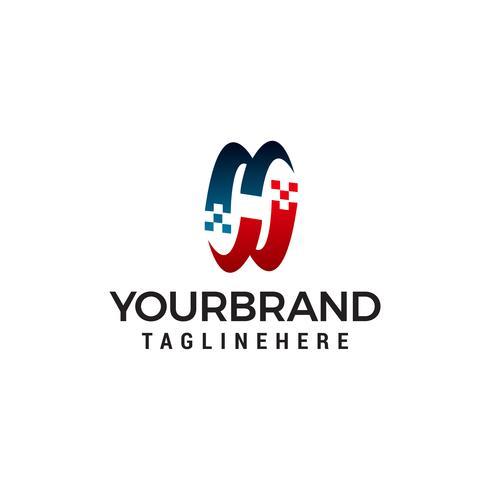 Buchstabe h Logo Technologie Design Konzept Vorlage Vektor