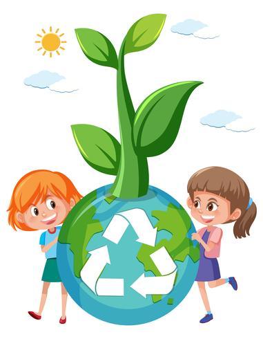 Girl holding recycle globe