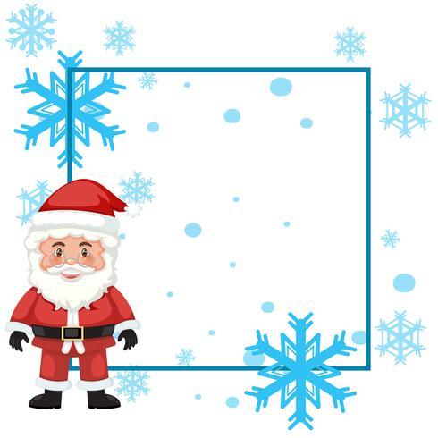 Un cadre de père Noël avec fond de flocon de neige