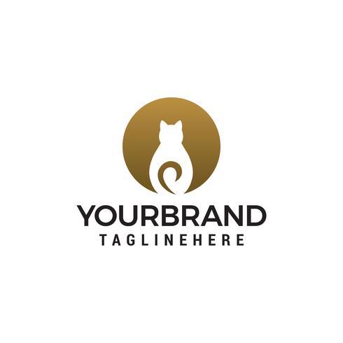 Vettore del modello di concetto di progettazione di logo del cerchio del gatto