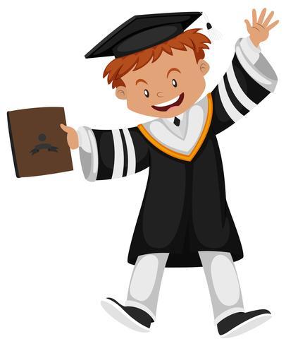 Homem, em, pretas, vestido graduação