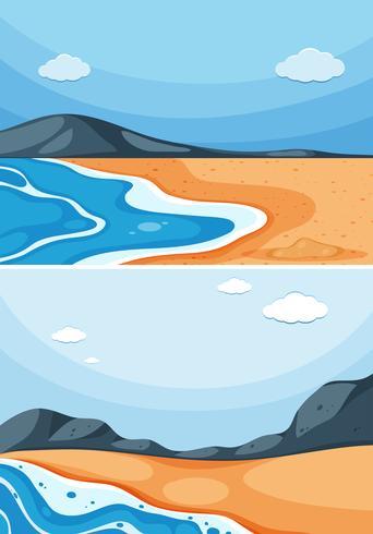 Zwei Ozeanszenen mit blauem Himmel
