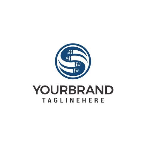 Buchstabe s Kurven Kreise Drehung einfaches Logo Vektor Design-Vorlage