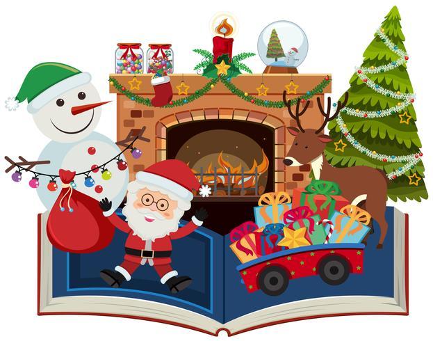 Libro de navidad con santa y presente. vector