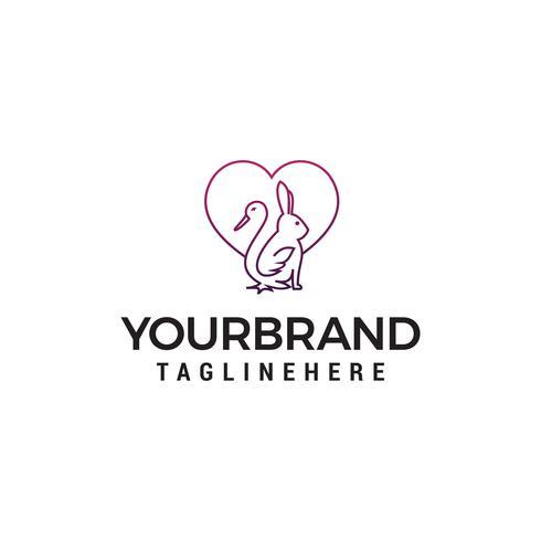 canard lapin coeur logo design concept template vecteur