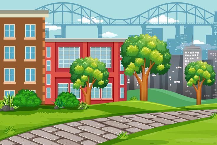 Scène de paysage urbain en plein air