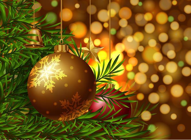 Kerstthema achtergrond met versieringen op de boom
