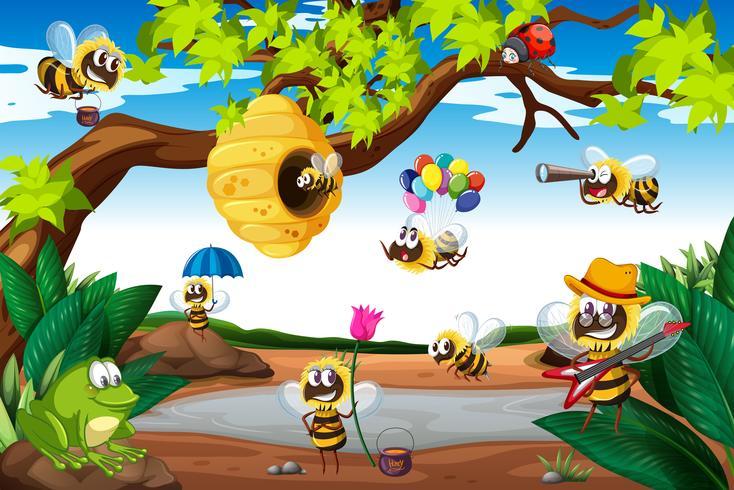 Bijen vliegen rond de boom