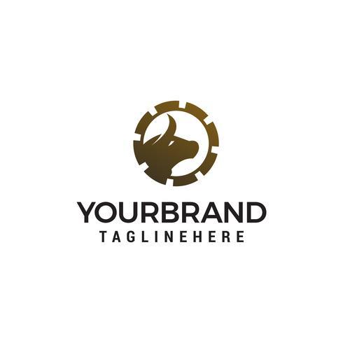 vector de plantilla de concepto de diseño de logotipo de engranaje de toro
