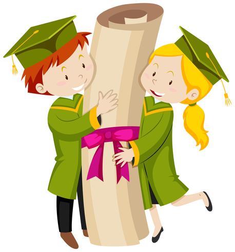 Homem mulher, em, verde, vestido graduação