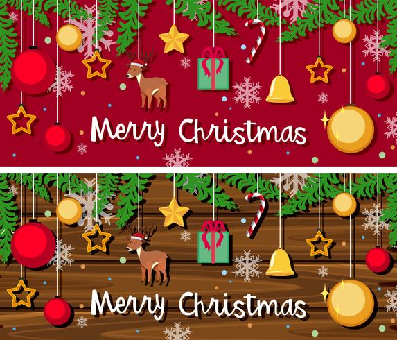 Christmas card template with many ornaments