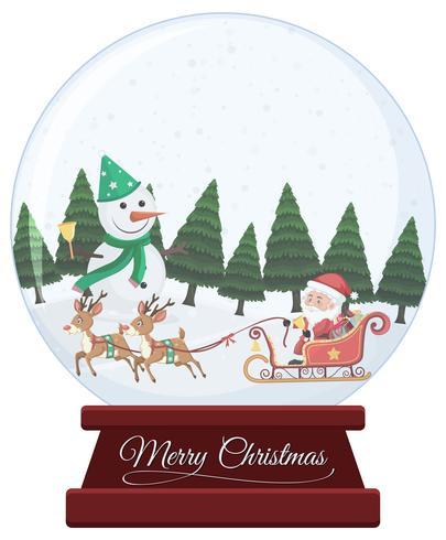 Boule à neige de Noël sur fond blanc