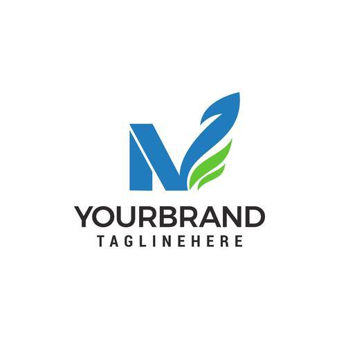 Letra N verde eco hoja logo plantilla diseño