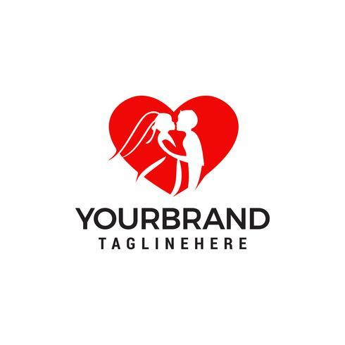 Modèle de conception de logo de mariage couple amoureux