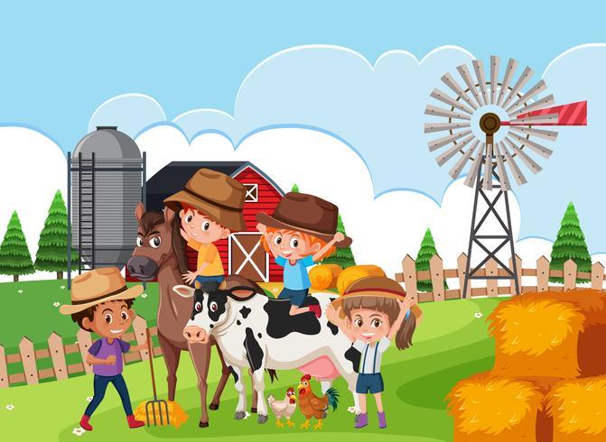 Kids in farm scene vector