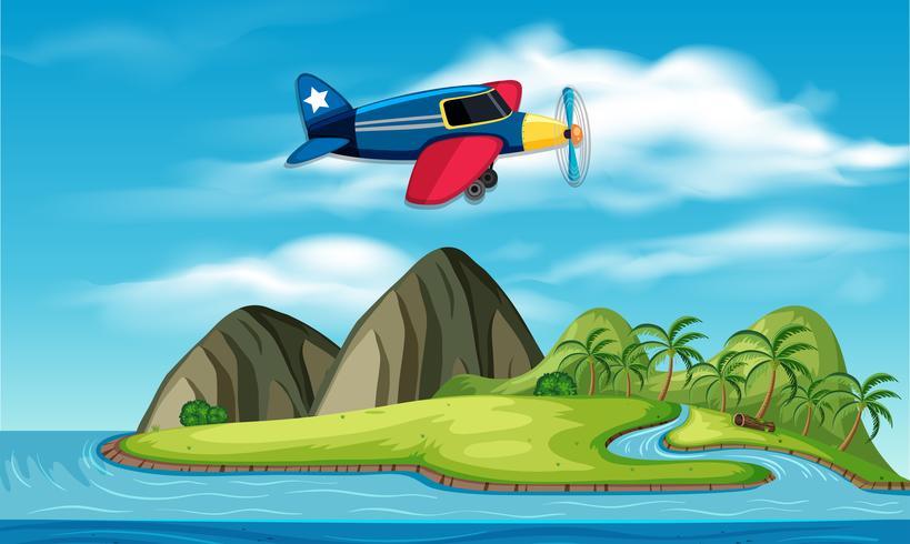 Ein Flugzeug fliegt über die Insel