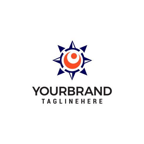 compass sun logo design concept template vector