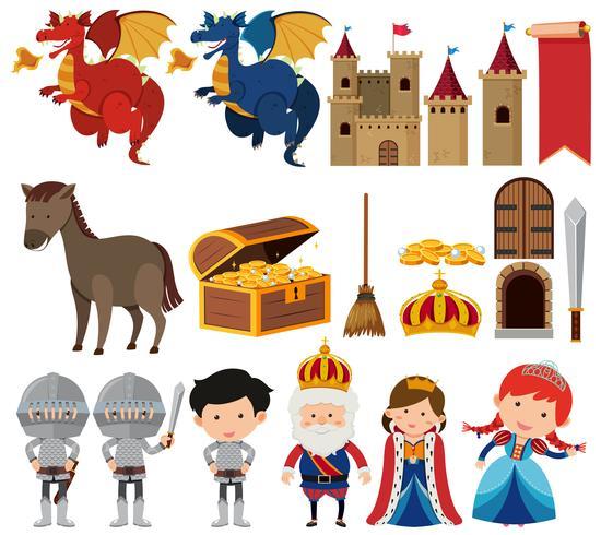 Set av fantasy drottning och kung uppsättning
