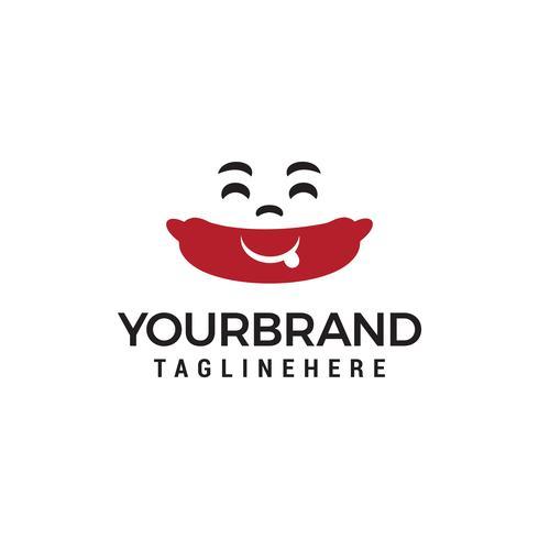 sonrisa hot dog logo concepto vector diseño plantilla
