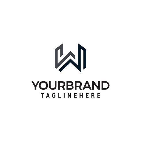 La lettera W linea arte monogramma logo disegni modello