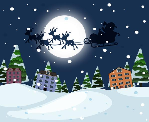 Silhouette santa riding sleigh over town vector