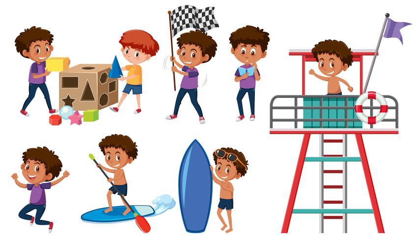 Set of boys doing activitys vector