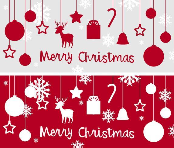 Modello di cartolina di Natale con molti ornamenti