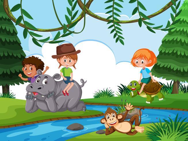 Barn i naturbakgrund