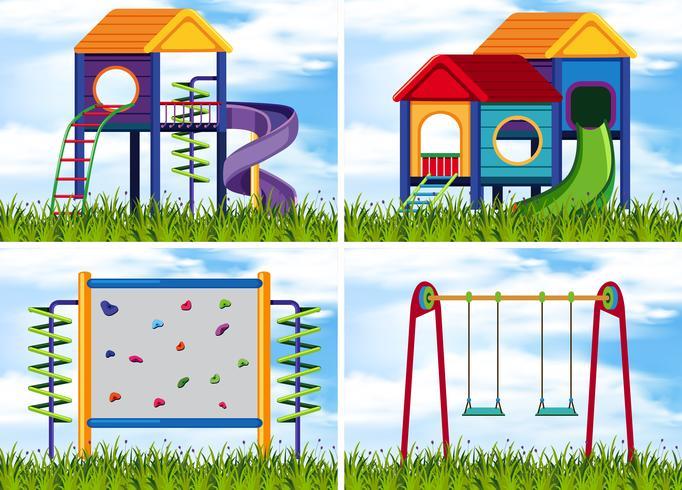 Cuatro escenas con estaciones de juego en el patio de recreo. vector
