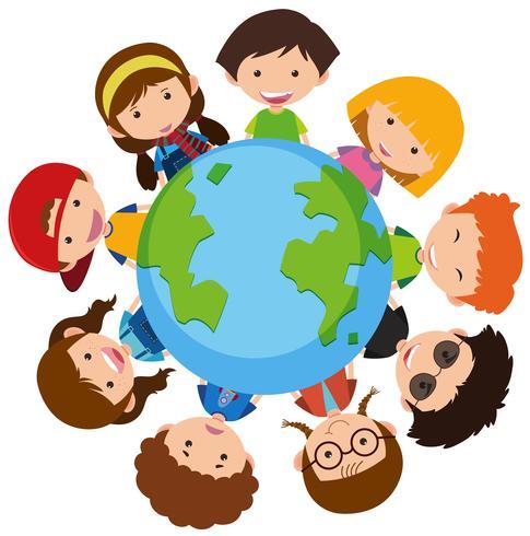 Gelukkige kinderen over de hele wereld