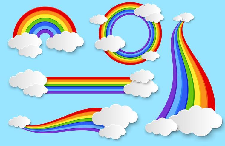 Diferente arcoiris en el cielo vector