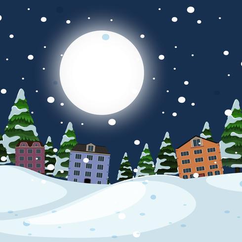 Paisaje de ciudad de invierno de noche