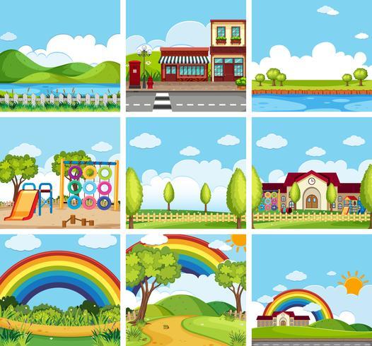 Conjunto de escenas de parques y pueblos.